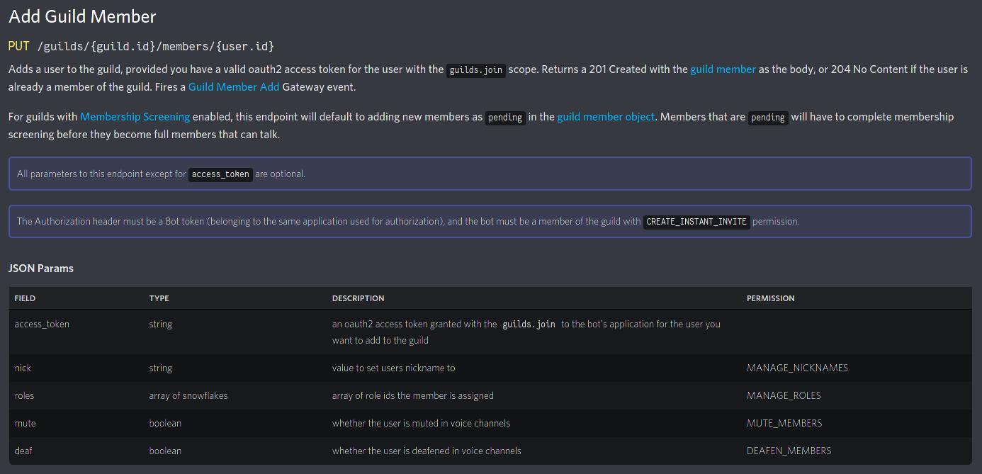 Screenshot of Discord Developer Docs